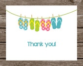 Beach Note Cards - Notecards - Thank You - Flip Flops - Sandals - Pool - Summer - Personalized - Set of 8