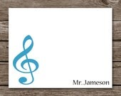 Music Notecards - Note Cards - Thank You - Stationery - Stationary - Music Note - Dance - Teacher -  Personalized - Set of 8