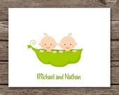 Twins Note Cards, Twins Cards, Twins Thank You Cards, Twins Baby Shower, Personalized Note Cards, PRINTABLE