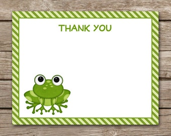 Frog Thank You Cards - Birthday - Party - Toad - Green - Boy - Girl - INSTANT DOWNLOAD