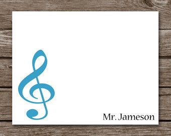 PRINTABLE Music Note Cards, Music Cards, Music Stationery, Music Teacher, Personalized Note Cards,