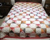 Quilt,  Queen Size Quilt, Handmade Quilt, Quilt, Hourglass Quilt, Handquilted Quilted, Patchwork Quilt, Colorful Quilt, Full Size  Quilt