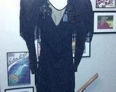 Vintage Fringe 80s Gown