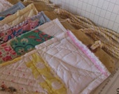 Cutter Quilt Patchwork gift tags. 12 vintage feed sack scraps stitched cottage rustic shabby primitive prairie country cottage market