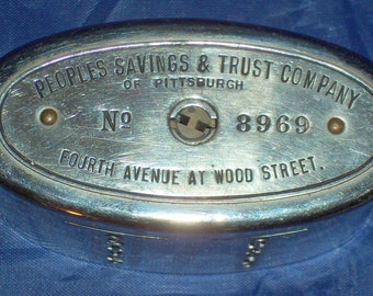 Vintage Metal Savings Bank People's Savings and Trust Company in Pittsburgh, Pennsyvania at Fourth Avenue at Wood street Metal Bank No Key