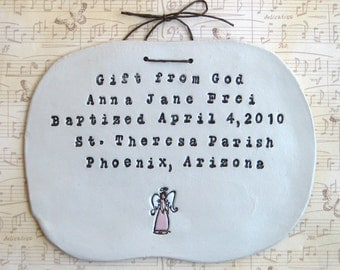 Personalized Angel Wall Hanging (Baptism)