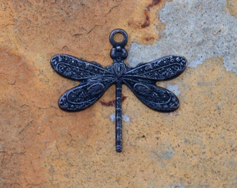 2 Small Dragonfly Charms 17mm x 15mm -  Black Finish, Trinity Brass