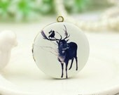 1pcs Stag Locket Necklace, Antique Bronze Brass Deer Locket Charm Pendant 32mm 25mm 20mm Locket - HLK141G