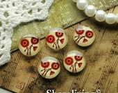 20% OFF SALE - Glass Cabochon, 8mm 10mm 12mm 14mm 16mm 20mm 25mm 30mm Round Handmade photo glass Cabochons (Red Flower)  -- BCH193A