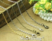 30% OFF SALE - 4pcs Silver / Golden / Bronze / Gunemtal / Shiny Silver  Finished Flat Chains