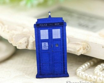 4pcs Dr Who Tardis Police Call Box Wood Charms, Laser Cut Wooden TARDIS Inspired Pendants HW043