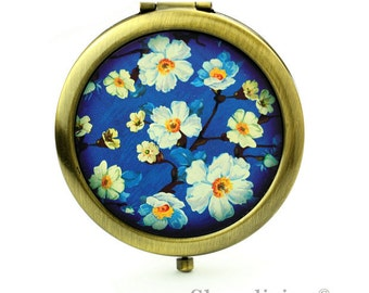 1pcs  Vintage Indigo Floral Compact Mirror, Makeup Mirror, Antique Bronze Silver Gold Flower Pocket Mirror, - HPM012M