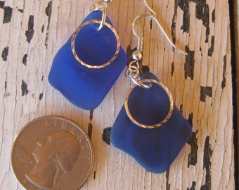 Dark blue beachglass earrings with silver plated wire,  cobalt blue vintage medicine bottle glass earrings, seaglass inspired