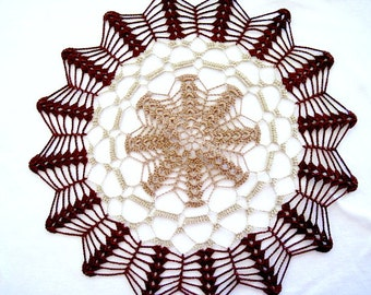"""Medium Size- Browns and Tans Colored Hand Crocheted Thread Round Doily 13.5"""""""
