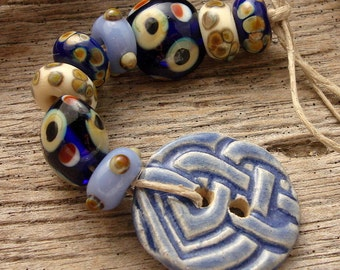 CELTIC SEAS - Handmade Lampwork Beads and Ceramic Button - Earring Pairs - Bead Mix - 9 Beads