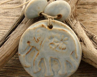 ELEPHANT - Pale Blue with hints of Chocolate Brown Elephant Pendant with two top shaped beads - Handmade Ceramic Pendant Set