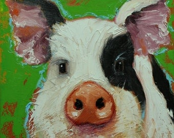 Pig painting 215 12x12 inch original oil painting by Roz