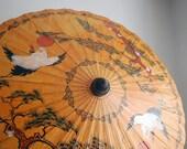 Vintage Chinese Parasol Rice Paper Umbrella Cranes Birds Folk Art Orange Oil Paper Wedding Photo Prop Chinoiserie Asian Accessories Bamboo