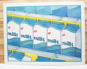 Vintage School Poster National Dairy Council Print Milk Grocery Store Illustration Breakfast Food 1987