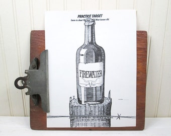 "Vintage Paper Shooting Target Firewater Bottle 8.5"" x 11"" Western Alcohol"