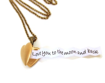 Valentines Day Secret Message Locket - Brushed Matte Gold Heart Locket - Customized with your personal message