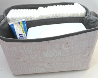 """Diaper Caddy 10""""X11""""X6"""" - Love You To The Moon and Back- Fabric Storage Bin- Organizer- PERSONALIZE it"""