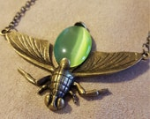 Apple Green Vintage Bronze Bug Necklace