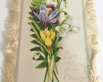 Victorian Easter Card with Silk Trim  Front Full Color Floral Bouquet and Easter Greeting