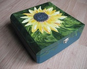 Sunflower on Decorated Cigar Box Handpainted with Beads