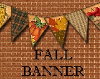 Fall Bunting Flags- Primitive Autumn Banner- Instant Download- Printable Collage Sheet JPG Digital File