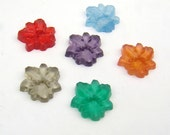 Vintage small daffodil flower cabs, assorted color flower floral cabochons, German 11mm, 6 pcs