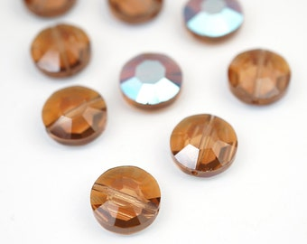 9 pcs vintage Swarovski crystal beads, light Colorado topaz, faceted article 335, 10mm