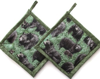 Black Bears And Cubs Potholders, Bear Theme Kitchen, Bear Pot Holders, Bear  Kitchen