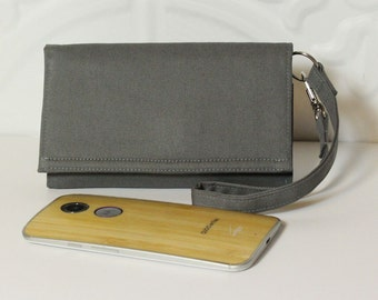 iPhone Wallet Wristlet Cell Phone Wristlet Wallet Card Holder iPhone Case / Galaxy Moto X Nexus NEW STYLE TECH / Steel Gray Solid