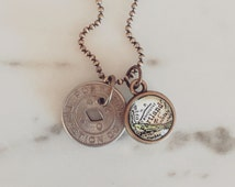 Vintage Portland Oregon Transit Token Necklace - Map Charm Necklace - Personalized Brass Map Jewelry - Travel Jewelry - Wanderlust - PDX
