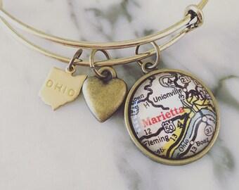 Marietta Ohio Map Charm Bangle Bracelet - Personalized Map Jewelry - Stacked Bangle - Midwest - Ohio River