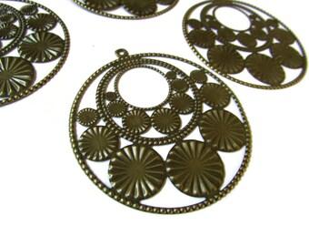 3 65mm Round Gogo Pendant Filigree Findings Nickel Free Iron Pendant Antique Bronze Findings Filigree Wrapping Jewelry Making Smileyboy