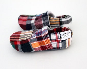Baby Boy Shoes Booties toddler infant newborn slippers Madras Patchwork Plaid non navy slip soft soled gift  SWAG