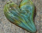 Lampwork Boro Glass Pendant - Focal Bead - HEART green metallic gold