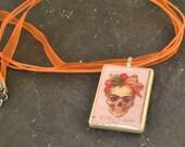 FRIDA KAHLO Skull Rummikub Tile Orange Organza Necklace