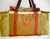 Deluxe Knitting/Crochet Tote Bag/Project Bag/Two Pocket Yarn Organizer/Handmade Tapestry Knitting Bag- AUTUMN GLOW