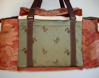 Deluxe Knitting/Crochet Tote Bag/Project Bag/Two Pocket Yarn Organizer/Handmade Tapestry Knitting Bag- FANDANGO