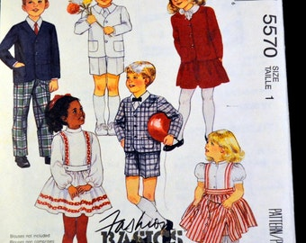 Sewing Pattern McCall's 5570 Toddlers' and Children's Jacket Skirt and Pants  Size 1 Uncut Party Clothes