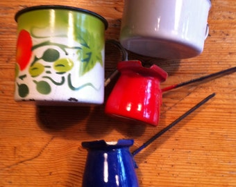 instant collection four  enamelware items tomato cup 2 butter burners red blue and a white cup