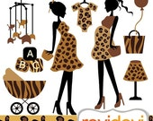 60% OFF SALE Clipart Safari Mom To Be 07389.. Commercial use digital graphic clip art