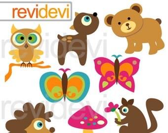 Woodland animals clipart / owl, bear deer, hedgehog, squarrel, butterflies digital clipart / woodland forest