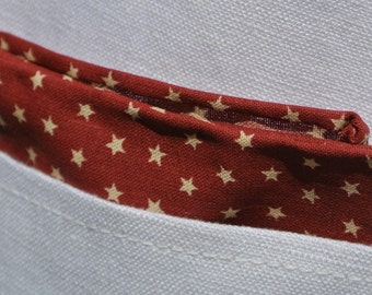 Men's Red Pocket Square , Patriotic Maroon with Stars , Hand Rolled , Cotton Handkerchief , Gift for Men , Suit Pocket Hankie