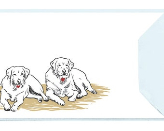 Two Labs - Set of 5 Letterpressed Notecards