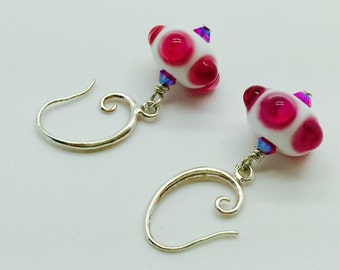 Pink and white petite glass earrings