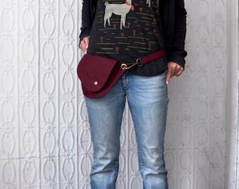 Belt Bag in Burgundy Cotton Duck Fabric : Fanny Pack, Hip Bag, Red Bag, Dark Red